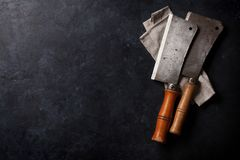 Butcher. Vintage meat knives stock photography