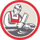 Butcher Woodcut Circle Retro Stock Photos