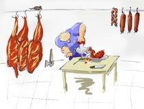 Butcher at work. Blood, meat, illustration stock illustration