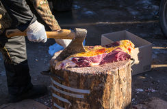 A Butcher at Work Royalty Free Stock Photography