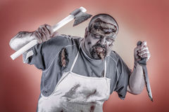 Butcher zombie Royalty Free Stock Images