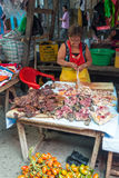 Butchered Turtle Meat. IQUITOS, PERU - MARCH 17: Woman selling butchered turtle meat in Belen market in Iquitos, Peru on March 17, 2015 stock photos