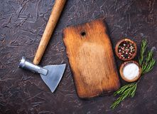 Butchers axe for meat and spices. Kitchen background. Top view Stock Image