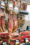 Butchers shop. Display of the traditional spanish ham in butchers shop Stock Photo
