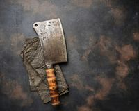 Butchers vintage cleaver for meat. Top view Royalty Free Stock Photography