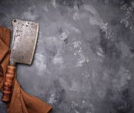 Butchers vintage cleaver for meat. Top view Stock Image