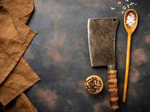 Butchers vintage cleaver with spices. Top view Royalty Free Stock Photos
