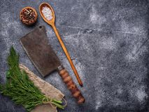 Butchers vintage cleaver with spices. Top view Stock Photo