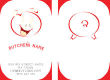 Butchers visit card. This Butchers visit card will put all your costumers in good mood Royalty Free Stock Image