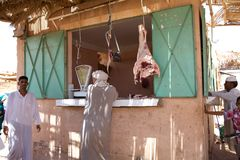 Butchery. Traditional berber butchery in the souk, open-air marketplace, in the South of Morocco Stock Image