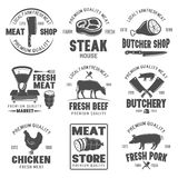 Butchery Black White Emblems. With livestock and poultry meat products scales and knives isolated vector illustration Stock Photography