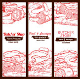 Butchery butcher shop meat sausages banners sketch. Meat banners sketch set. Butchery store or butcher shop meaty products pork bacon and ham jamon, beef or veal Stock Images