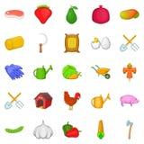 Butchery icons set, cartoon style. Butchery icons set. Cartoon set of 25 butchery icons for web isolated on white background Stock Photos