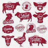 13 butchery logo, etykietka, emblemat, plakat zwierząt gospodarstwa rolnego krajobraz wiele sheeeps lato Obraz Royalty Free