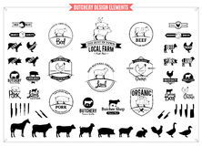 Butchery Logos, Labels, Charts And Design Elements Royalty Free Stock Photos
