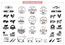 Butchery Logos, Labels, Charts and Design Elements Royalty Free Stock Photography