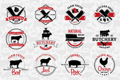 Butchery Logos, Labels, and Design Elements. Farm Animals Silhou Royalty Free Stock Image