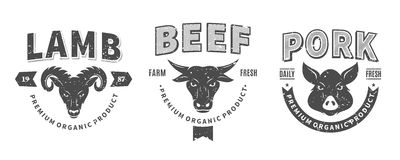 Butchery Logos, Labels, Farm Animals Icons and Design Elements Stock Photos