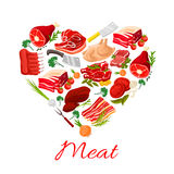 Butchery meat products vector poster Stock Photos
