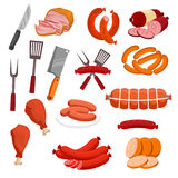 Butchery meat sausage salami vector isolated icons. Meat and sausages vector icons. Butchery or butcher shop meat food products and delicatessen. Isolated Royalty Free Stock Photo