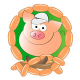 Butchery pig. Logo of pig on the green background with sausages Stock Image