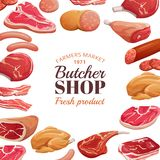 Butchery poster. Fresh meat raw, beef steak and pork ham. Meat product vector background. Illustration of butcher shop and market vector illustration