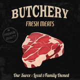 Butchery poster in retro style Stock Photo