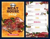 Butchery produktów mięsnego domu menu ilustracja wektor
