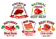 Butchery shop emblems and fresh meat vector icons Stock Photo