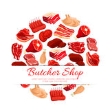 Butchery shop fresh meat vector poster. Butchery shop poster of vector fresh meat assortment. Butcher and farm beefsteak, beef raw filet and steak, t-bone Stock Images