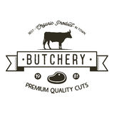 Butchery shop logo template. Old style badge design with silhouette cow symbol and typography elements. Stock vector Royalty Free Stock Images