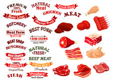 Butchery shop meat icons, vector emblems ribbons Stock Images