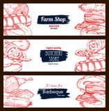 Butchery shop meat sausages banners sketch set. Meat and sausage delicatessen sketch. Pork bacon and ham jamon, beef or veal meat barbecue, pepperoni or salami Royalty Free Stock Photography