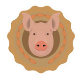 Butchery vector logo. Pig head in wieners circle Stock Images