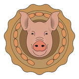 Butchery vector logo. Pig head with wieners. Color. Eco butchery organic food vector logo. Big pink pig head in tasty wieners circle. Color illustration  on Stock Images