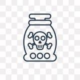 Buteleczki wektorowa ikona odizolowywająca na przejrzystym tle, liniowa buteleczka ilustracja wektor