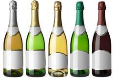 butelek 5 etykietek ustawiają biel Fotografia Stock