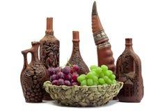 butelek gliniany słojów wino Fotografia Royalty Free