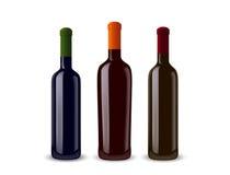 butelek ilustraci trzy wino Zdjęcia Royalty Free