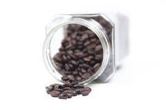 Butelek kawowych fasoli kubek Zdjęcia Stock