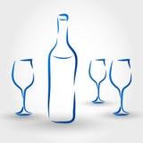 Buteljera av wine Arkivbilder