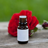 Buteljera med aromatherapyolja Arkivfoto