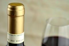 Buteljera och exponeringsglas av fin italiensk rött vin Royaltyfri Fotografi