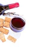 Buteljera och exponeringsglas av rött vin Royaltyfri Fotografi