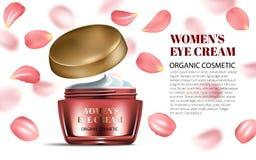 Buteljerar realistiska kvinnor öppnad kräm för öga och framsidan med röda kronblad modellen på bländande bakgrund Innehållet i ex Arkivbilder