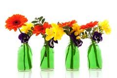 butelka bukiety kwitną zieleń zdjęcia stock