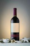 Butelka czerwone wino na stole z piaskiem i skorupami Fotografia Royalty Free