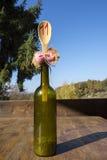 Butelka i drewniana kopyść Zdjęcia Stock