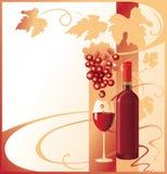 Butelka i szkło z czerwonym winem dekorowaliśmy z wiązką winogrona royalty ilustracja