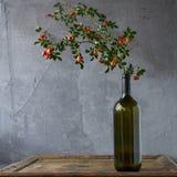 Butelka istotny olej różani biodra na drewnianym tle Fotografia Royalty Free